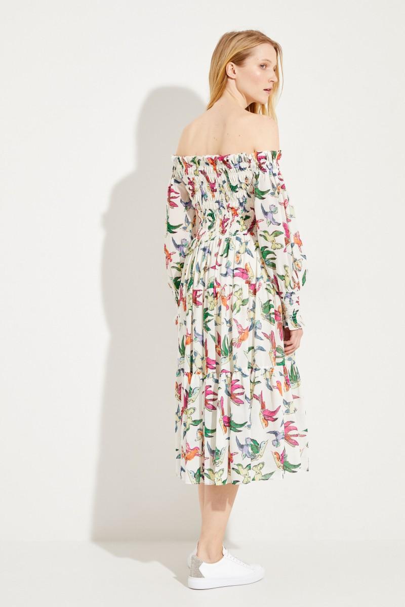 Gemustertes Off-Shoulder Kleid Multi