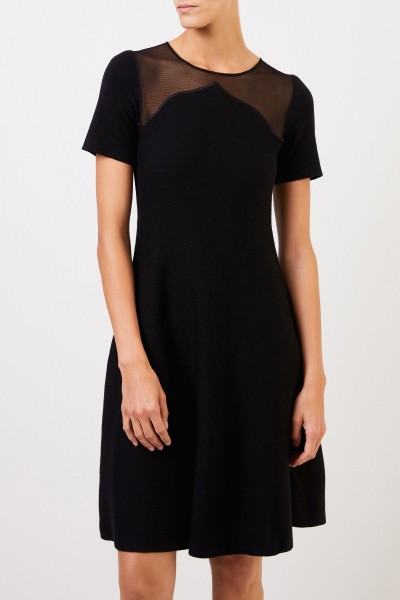 Oscar de la Renta Midi knitted dress with semi-transparent inserts Black