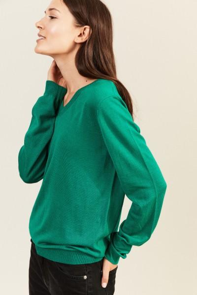 Woll-Pullover mit V-Neck Grün