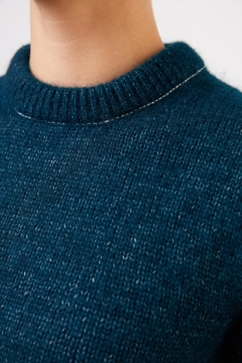 Alpaka-Seiden-Pullover Intense Teal
