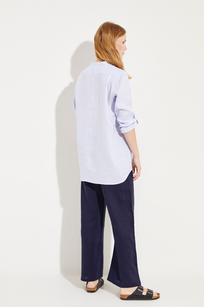 Oversize Leinen-Bluse Blau