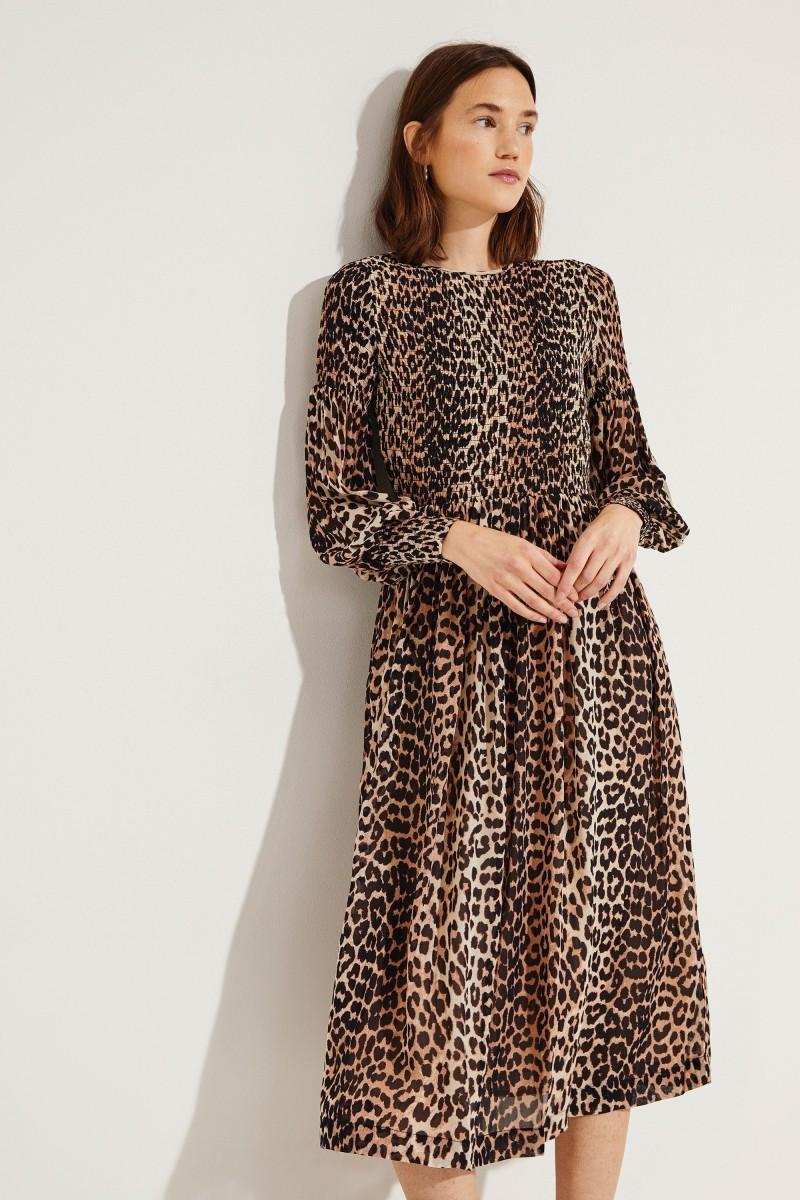 Midi-Kleid mit Leo-Print Multi