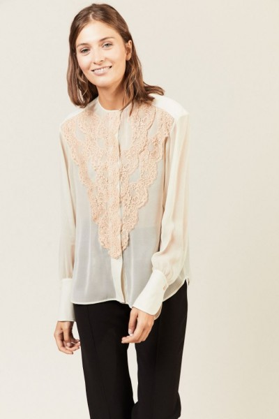 Bluse mit Lace-Details Pearly Grey