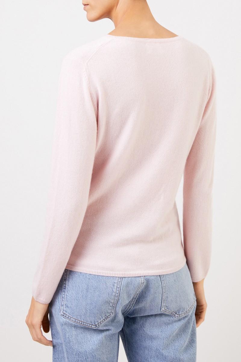 Uzwei Cashmere-Pullover mit V-Neck Rosé
