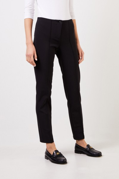 Cambio Stretch trousers 'Ros Straight Long' Black