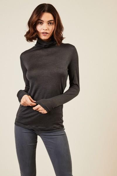 Woll-Seiden-Rollkragen Pullover Anthrazit