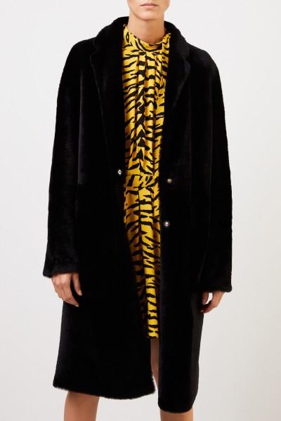 Yves Salomon Lambskin coat Black