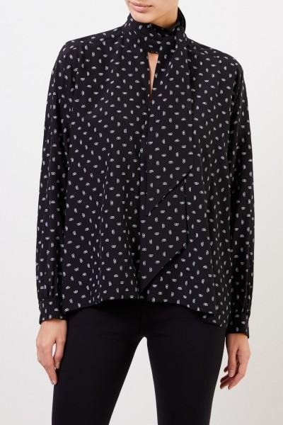 Balenciaga Silk Blouse with Allover-Print Black