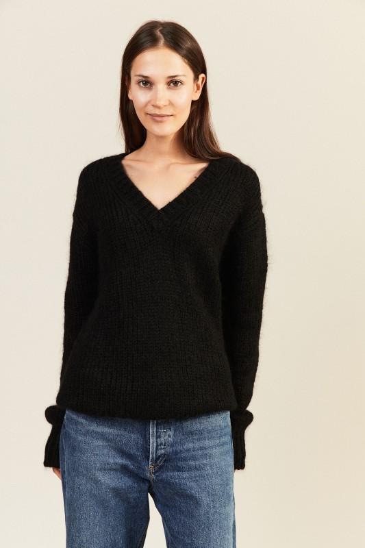Mohair-Woll-Pullover mit V-Neck Schwarz