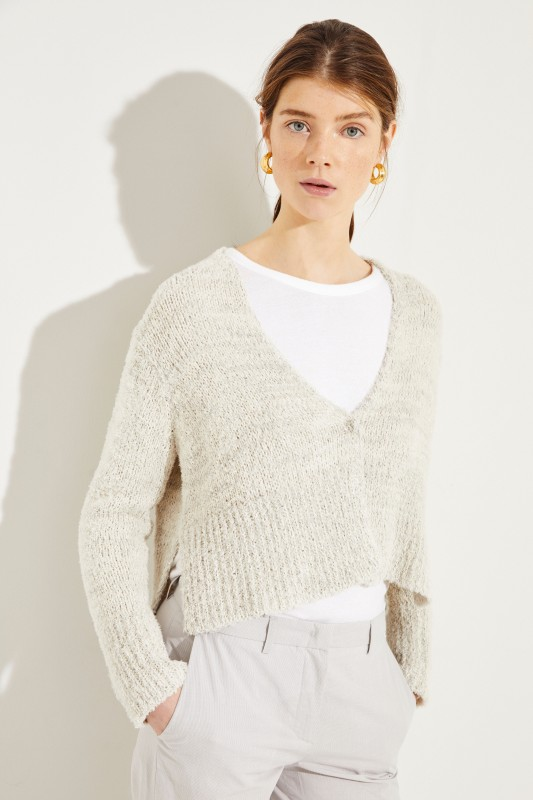 Cotton-Linen-Cardigan with Sequins Grey  4437f42f6