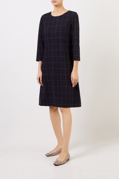 Classic wool dress with checked pattern Blue/Cream