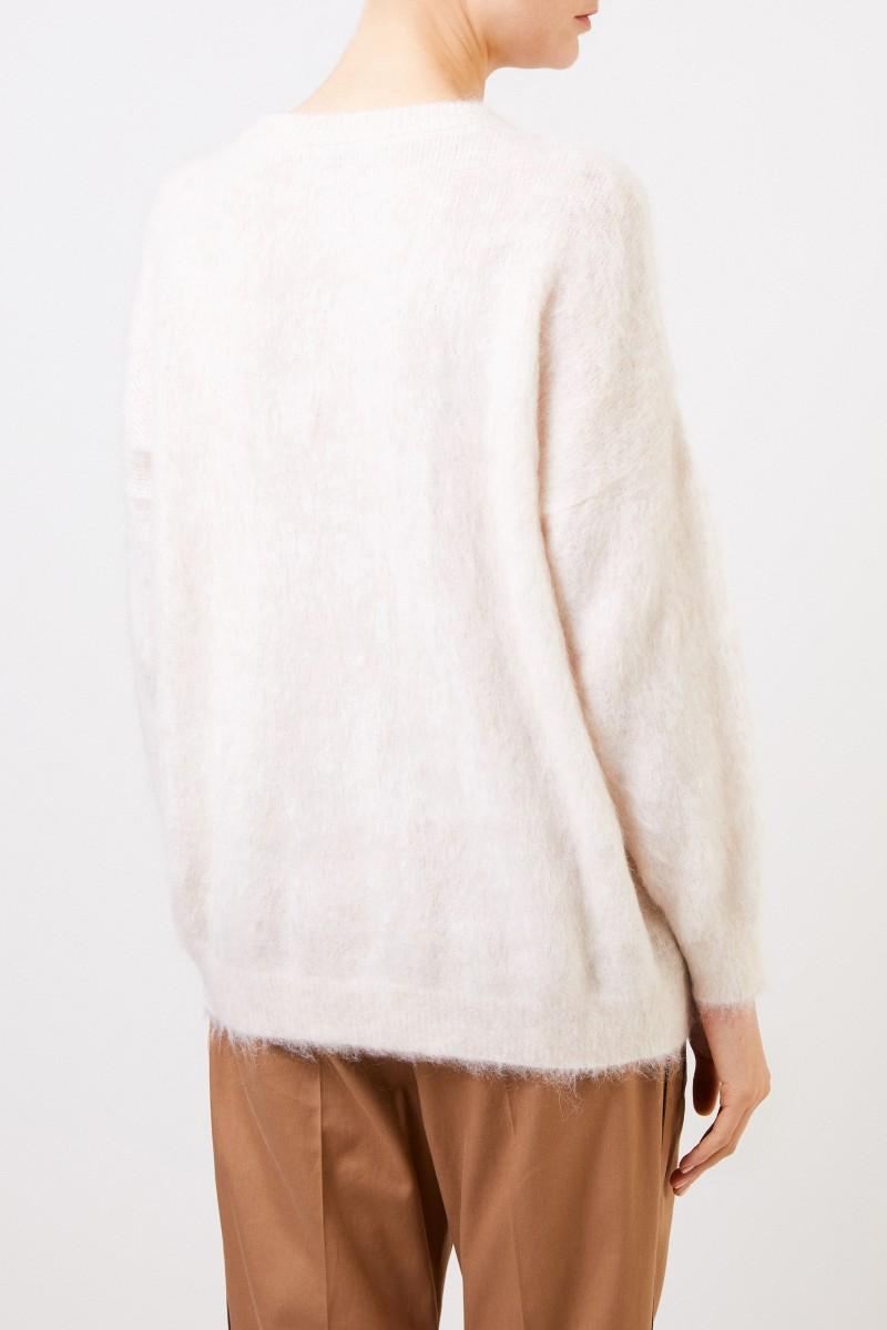 Brunello Cucinelli Woll-Pullover mit Schriftzug Crème