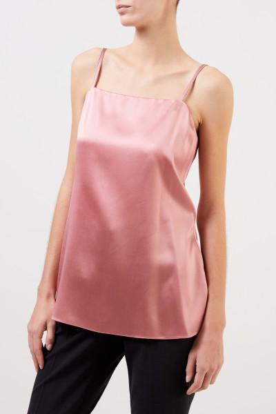 Brunello Cucinelli Seiden-Top mit Perlenverzierung Rosé