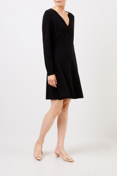 Allude Woll-Cashmere knitted dress with knot detail Black