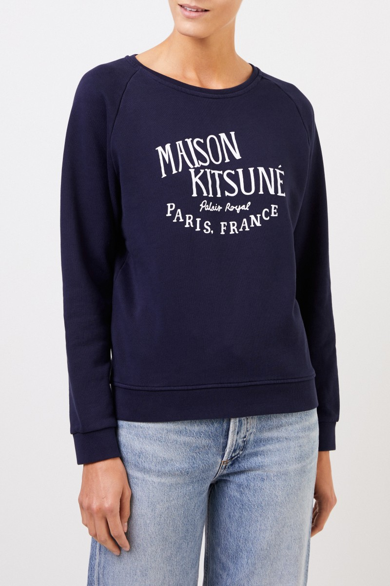 Maison Kitsuné Sweatshirt 'Palais Royal' mit Logo-Schriftzug Marineblau