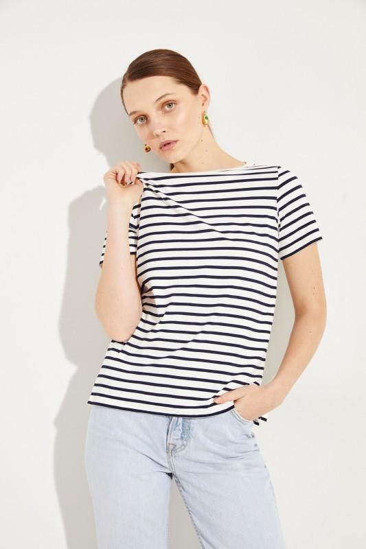 Gestreiftes Shirt Marineblau/Weiß