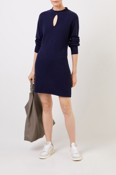Allude Wool cashmere knitted dress with slit detail navy Blue