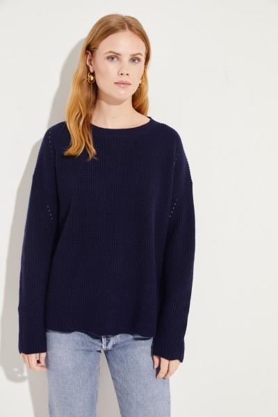 Woll-Cashmere-Pullover mit Lochmuster Marineblau
