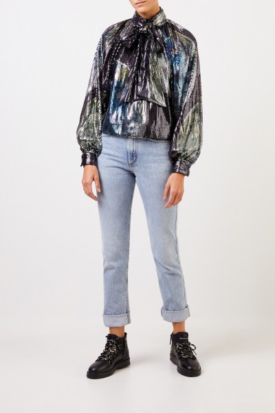 Ganni Sipped blouse with sequins 'Sequin Mesh' Multi