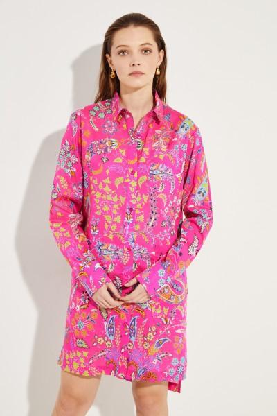 Hemdblusenkleid mit Print Fuchsia/Multi
