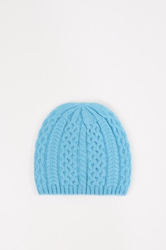UZWEI Cashmere-Mütze mit Zopfmuster Hellblau