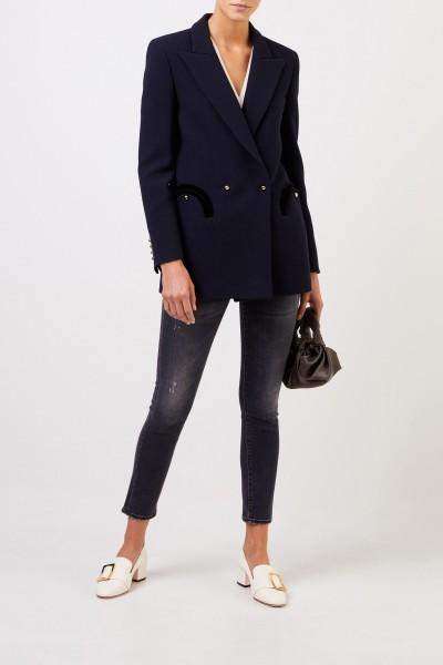Woll-Seiden-Blazer 'Essential Resolute' Marineblau
