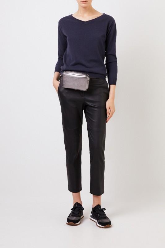 Cashmere-Pullover mit Perlenverzierung Marineblau