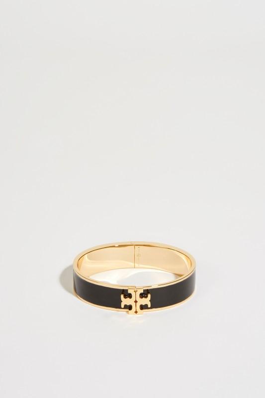 Emaille-Armreif mit Logo Schwarz/Gold
