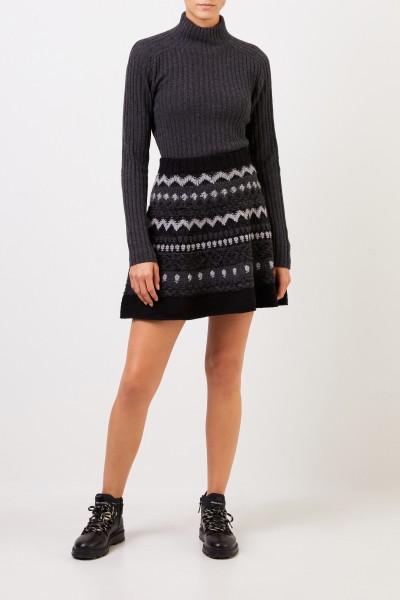 Iris von Arnim Cashmere skirt 'Heralda' with jacard pattern Black/Grey
