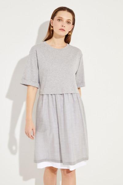 Zweilagiges Baumwoll-Kleid Grau/Weiß