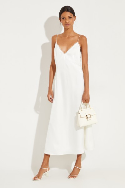 Silk dress 'Hawi' with slit White