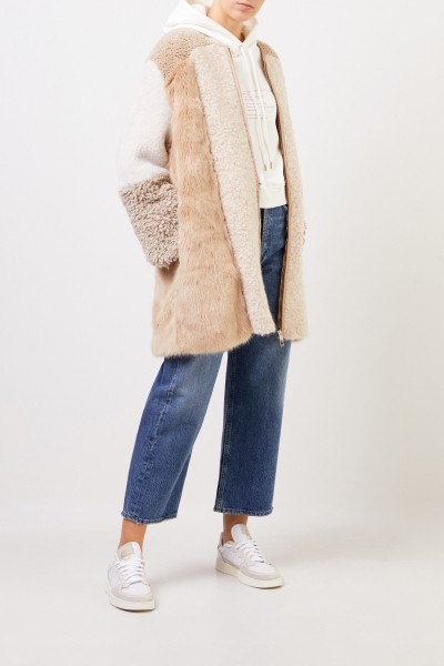 Faux Fur Coat with Detail Camel