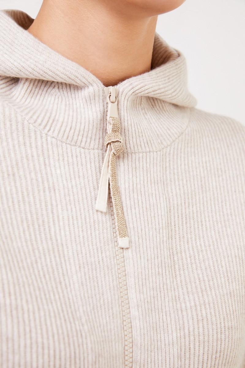 Brunello Cucinelli Cashmere-Sweatjacke mit Kapuze und Perlenverzierung Beige