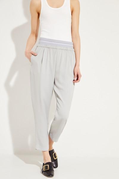 Seiden-Hose mit elastischem Bund Grau