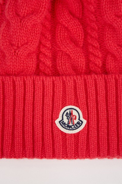 Moncler Wool cashmere cap with cable pattern Pink