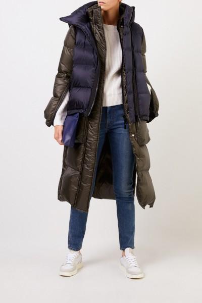 Sacai Down coat in layering look navy Blue/Khaki
