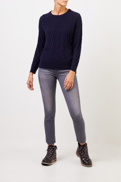Uzwei Cashmere sweater with knit pattern Navy Blue