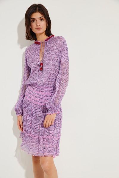 Gemustertes Seiden-Kleid mit Pompoms Violett