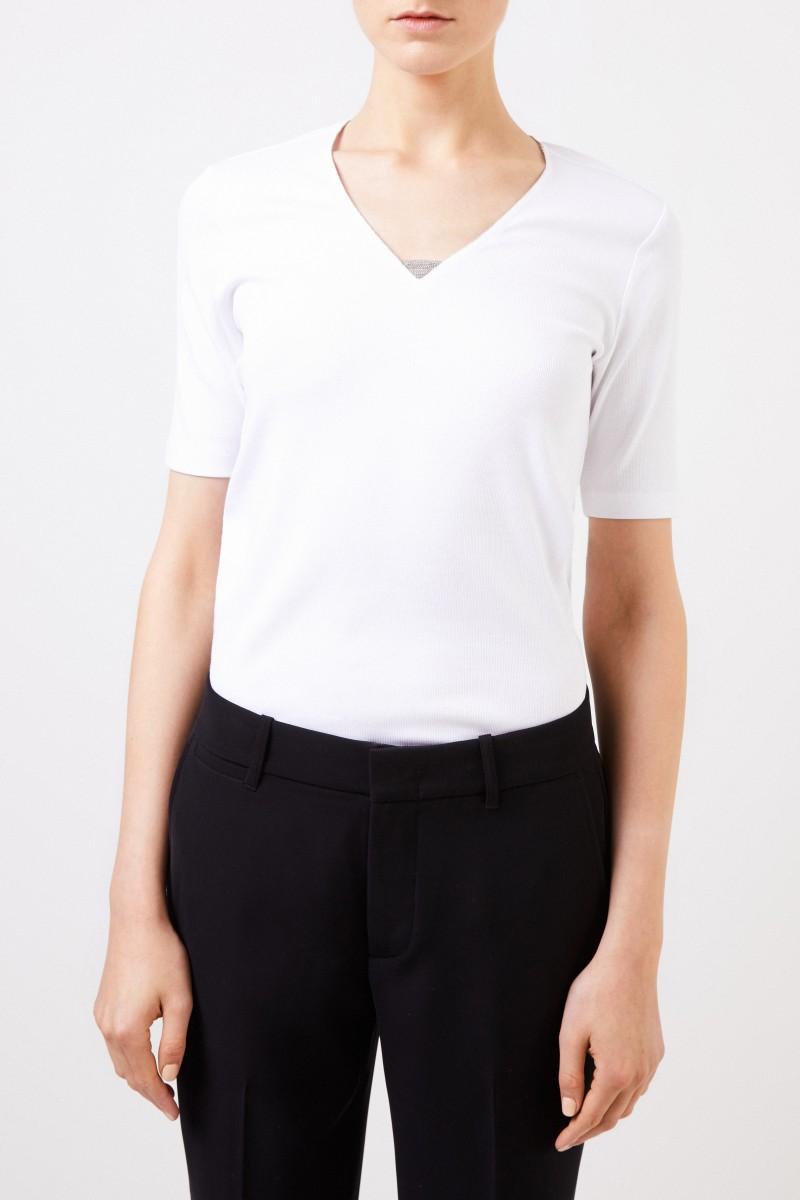 Feinripp-Shirt mit Perlenverzierung Weiß