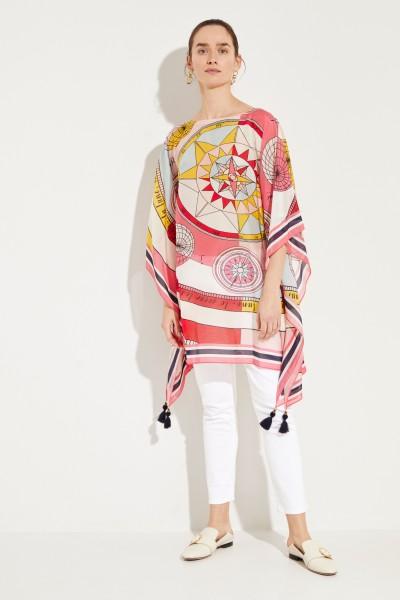 Baumwoll-Seiden-Tunika mit Print Pink/Multi
