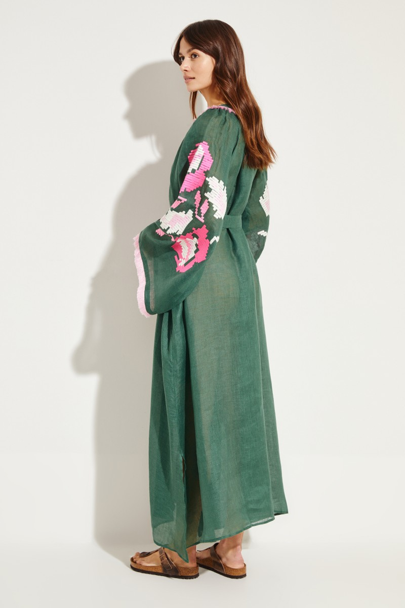 d8b0af5cea7a4 Linen-maxi dress 'Daniela' with embroidery Green/Pink