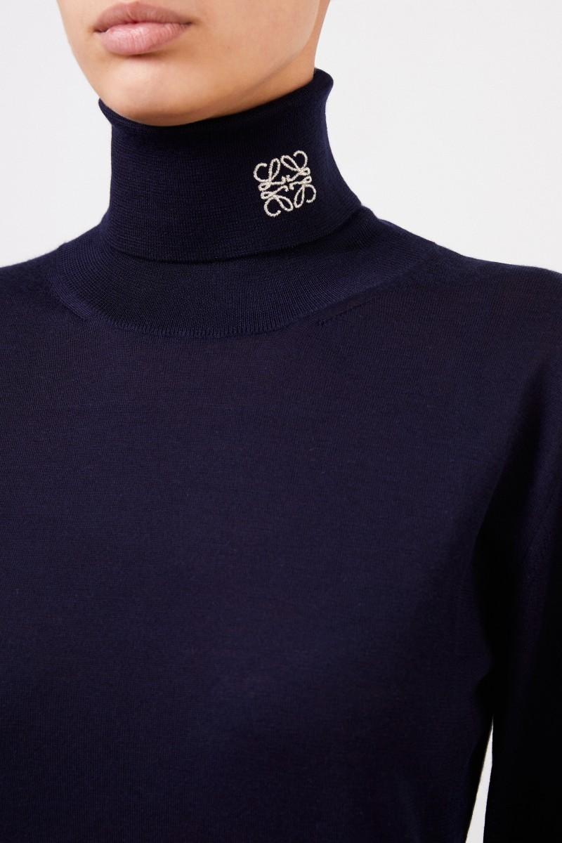Loewe Cashmere Rollkragen mit Logo-Detail Marineblau