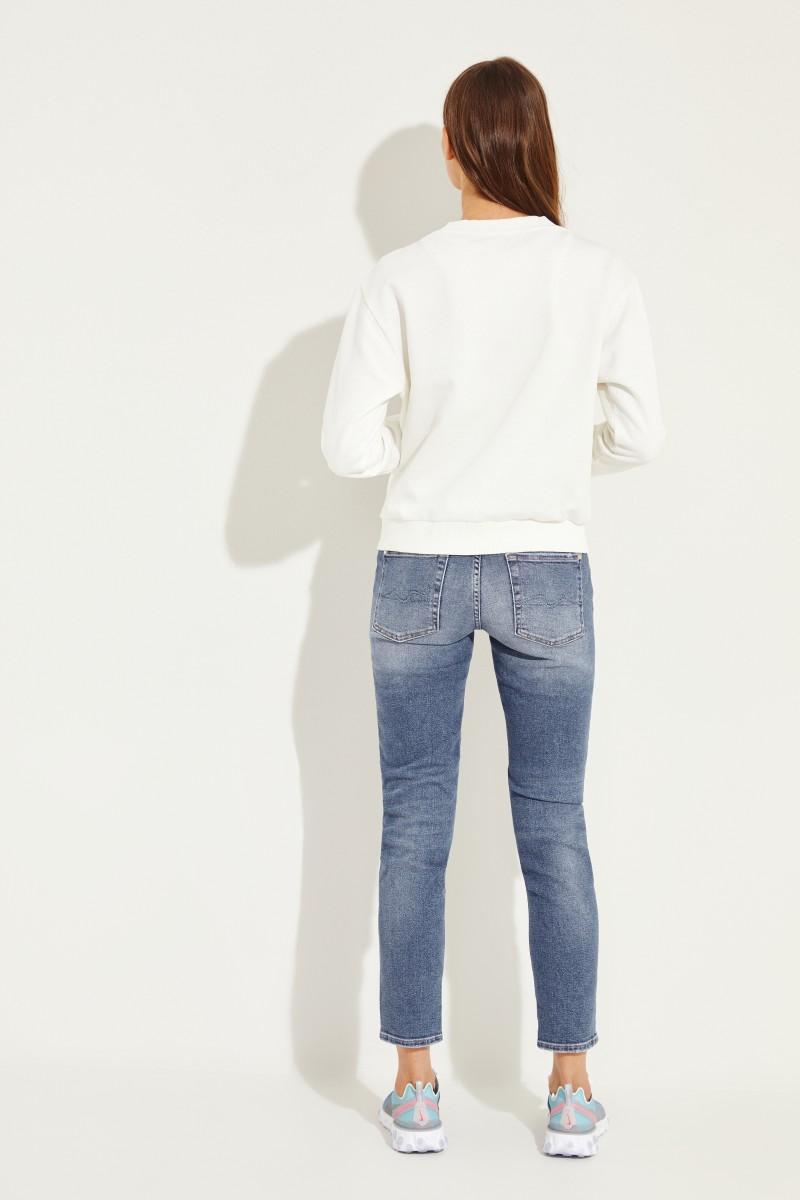 Moncler Baumwoll-Sweatshirt mit Perlendetails Weiß