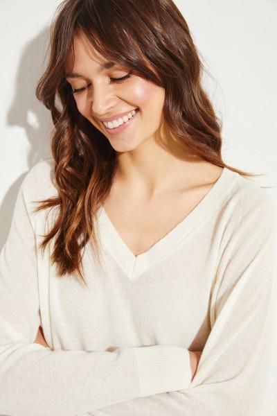 Langer Cashmere-Pullover Crème