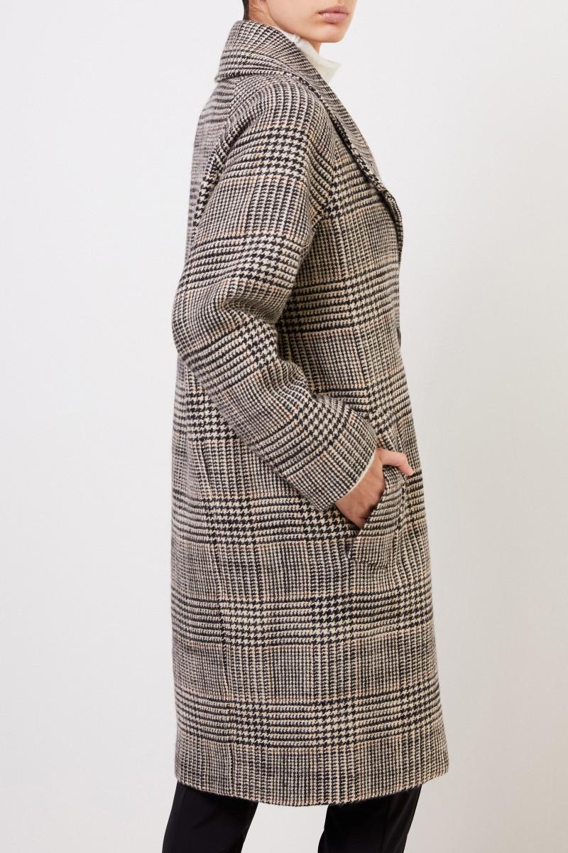 Aspesi Wool Coat with Glencheck Black/Beige