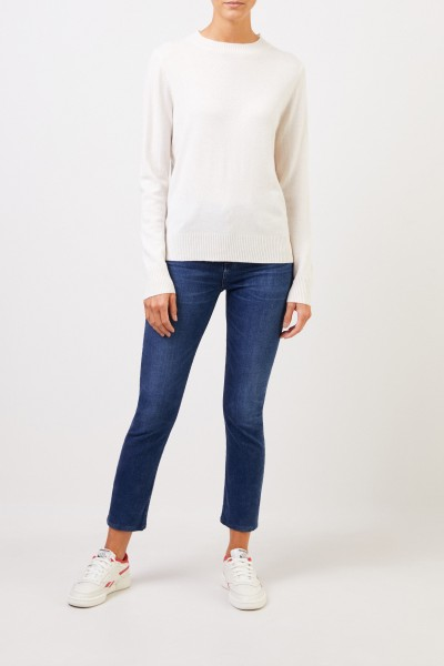 Uzwei Cashmere sweater with rib knit collar White