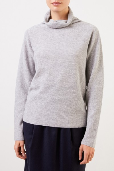 Fabiana Filippi Woll-Seiden-Pullover mit Turtleneck Hellgrau