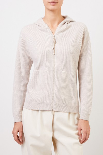 Brunello Cucinelli Cashmere sweat jacket with hood and pearl decoration Beige