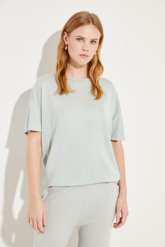 Short sleeve silk cashmere pullover Green