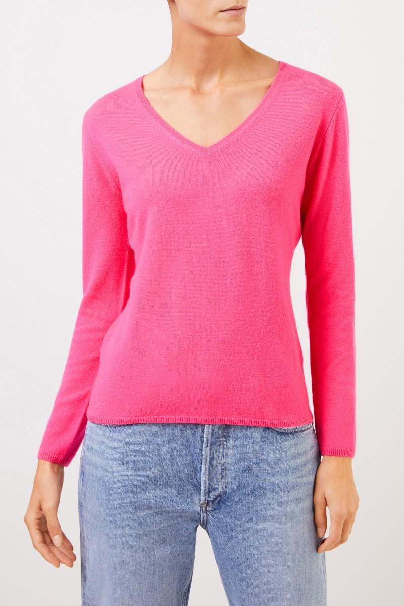 Uzwei Cashmere-Pullover mit V-Neck Pink